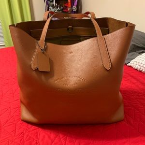 Like New Large Saddle Brown Coach Tote